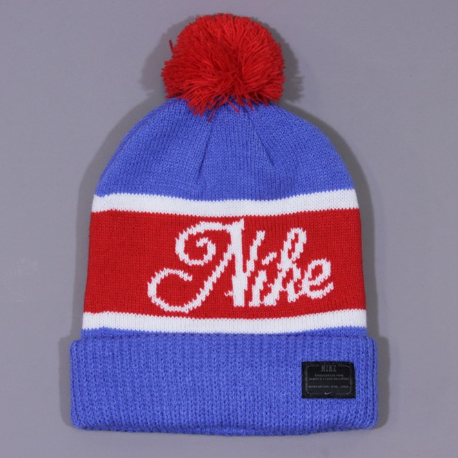 Nike Old Snow Beanie - Blue, University Red and White