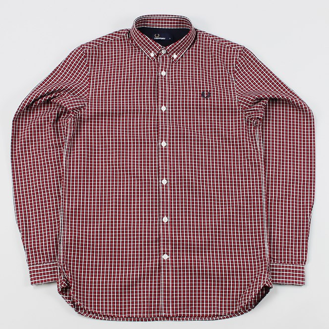 Fred Perry 3 Colour Basket Weave Long Sleeve Shirt Red Gingham