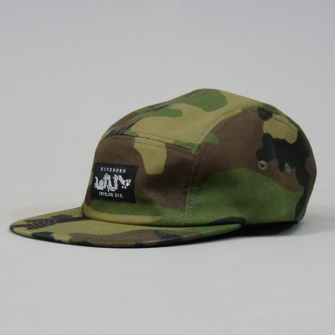 5Boro Join Or Die Five Panel Cap - Camo Green