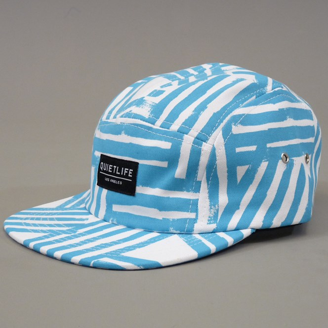 The Quiet Life Painted Lines Five Panel Cap - White and Cyan