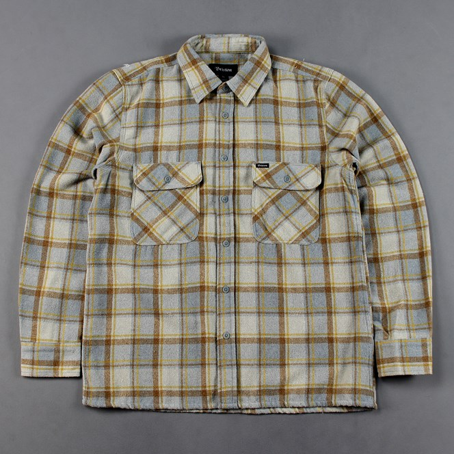 Brixton Archie Long Sleeve Check Flannel Shirt Grey Blue