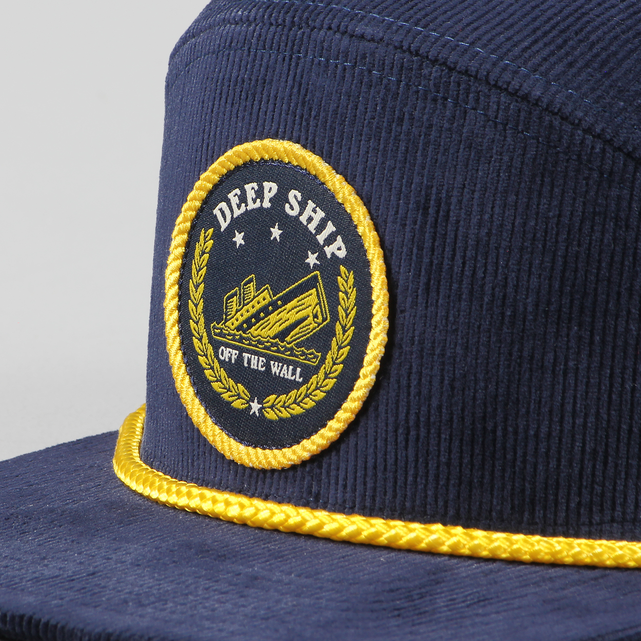 79735e48 A nautical inspired corduroy snapback cap, the Bardwell cap from Vans has a  front Deep ship patch, visor rope and an adjustable rear for a one size  fits all ...