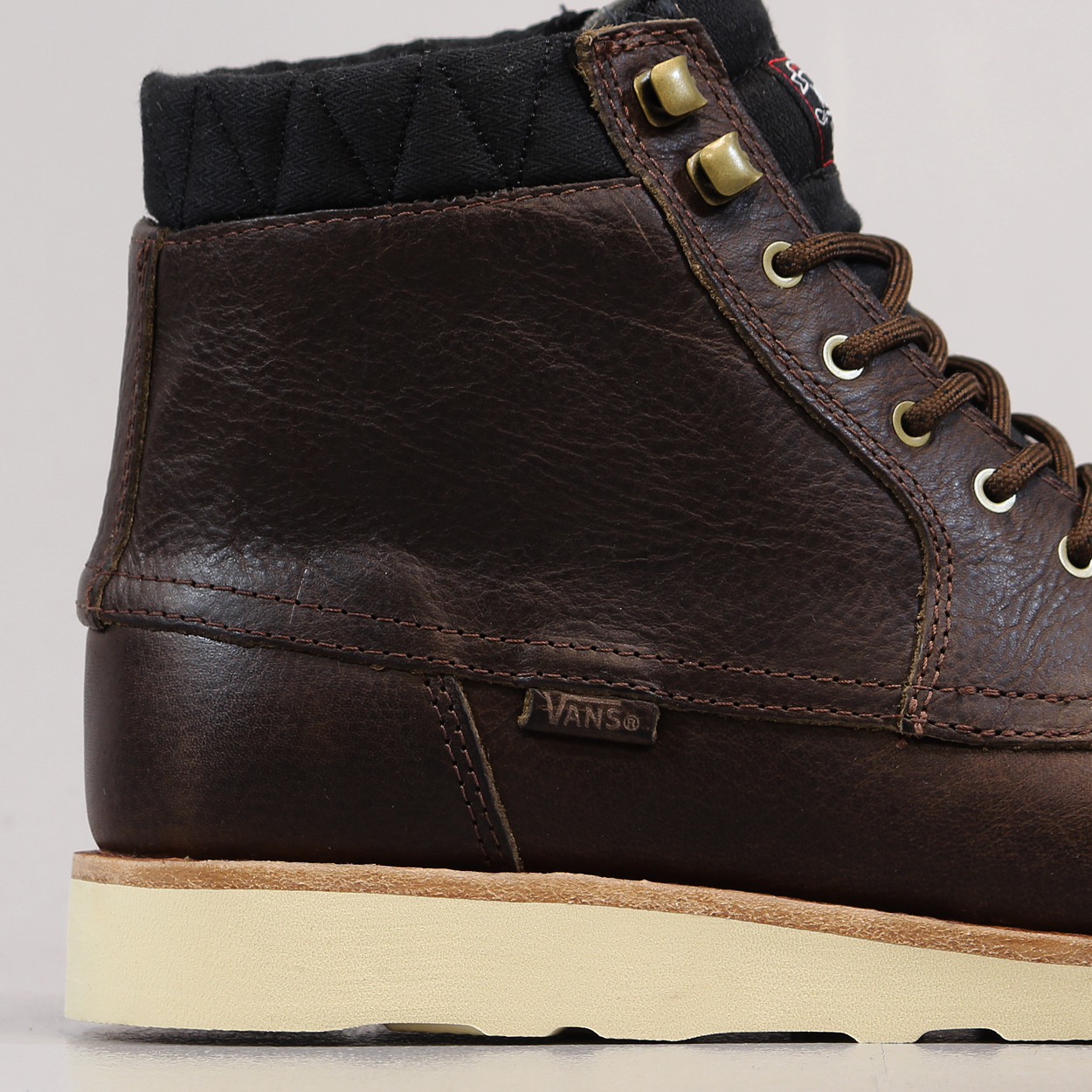 8e0d511603997c A vintage looking high top boot from Vans OTW with a grippy Vibram Christy  Sole and a lovely full grain leather upper.