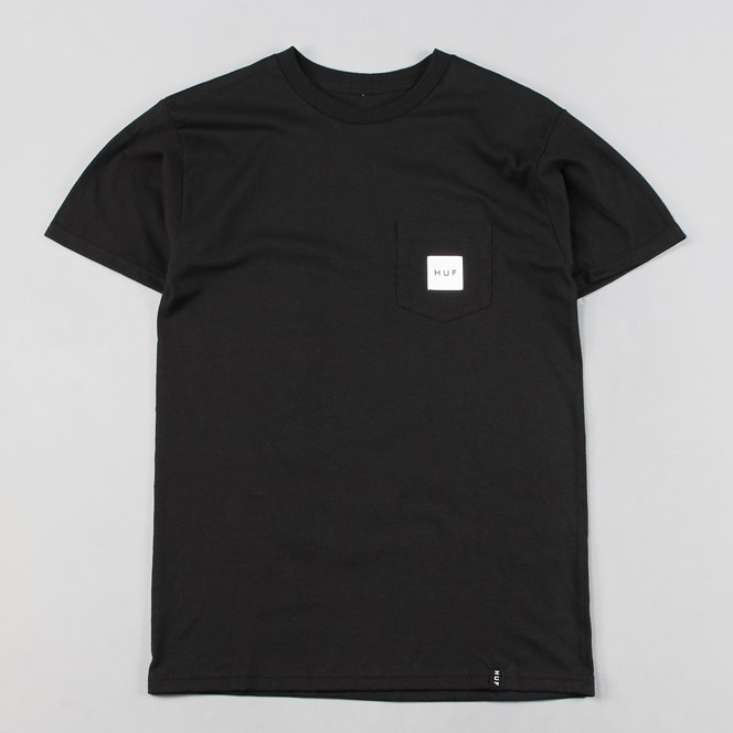 Huf Box Logo Pocket T Shirt Black