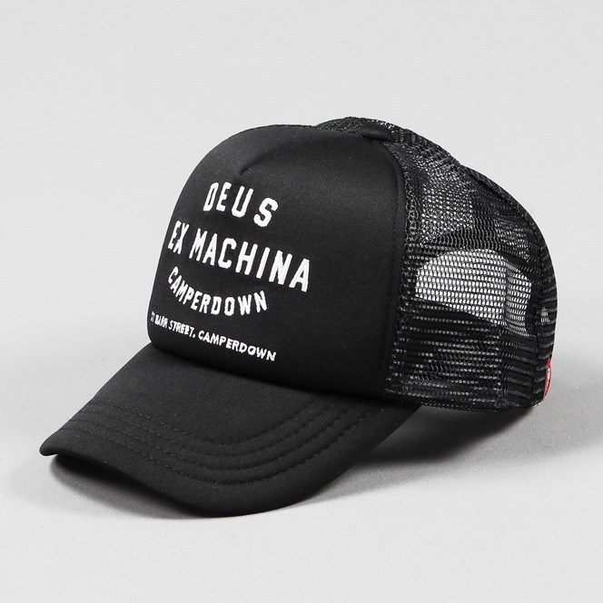Deus Ex Machina Camperdown Address Trucker Cap Black White