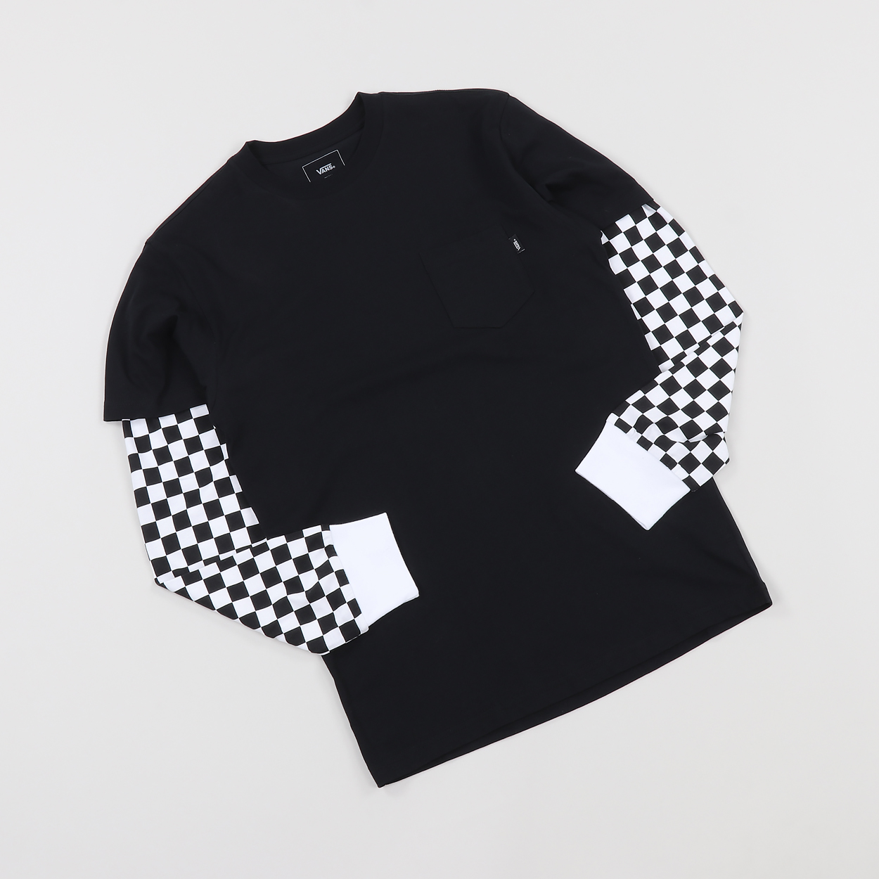 4c552926d0c308 The Vans Checker Long Sleeve T Shirt features a singular pocket to the  chest, a crew neckline and checker board detailing to either sleeve.