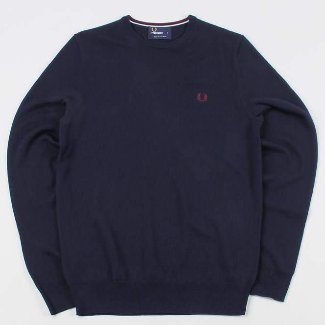 Fred Perry Classic Crew Neck Merino Wool Knit Sweater Dark Carbon