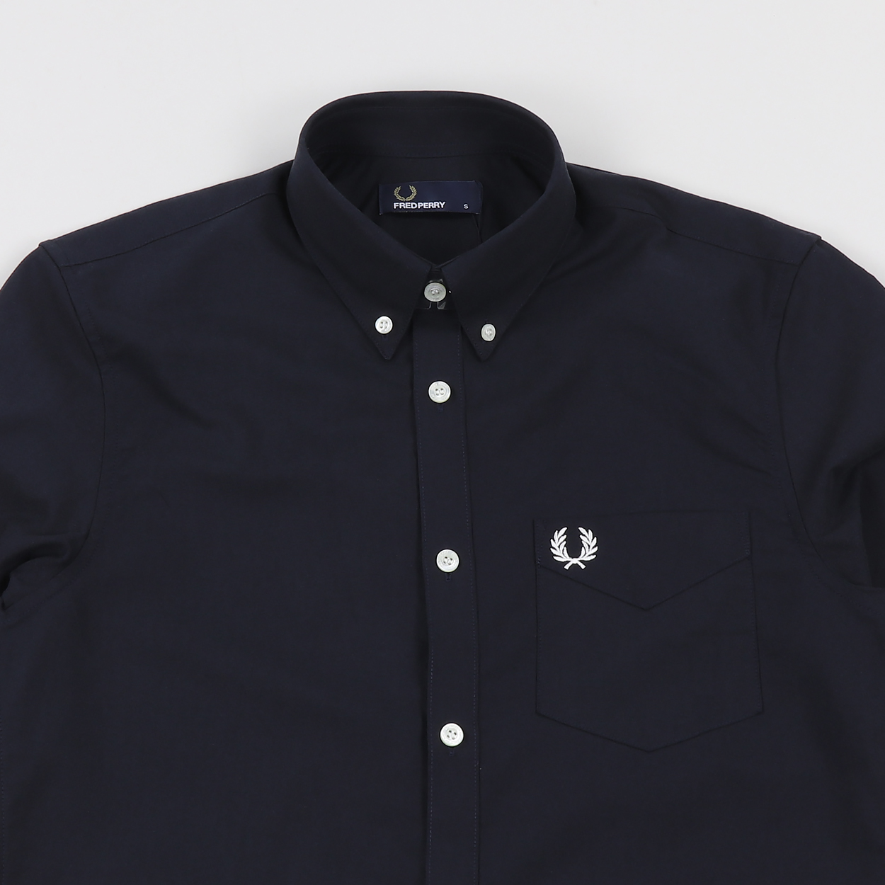 M3531 Fred Perry Classic Short Sleeve Oxford Mens Shirt Snow White Size.S-XXL