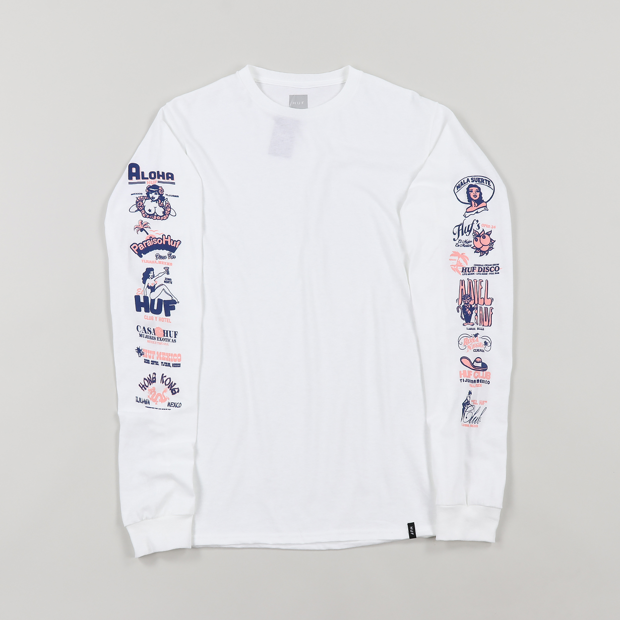 471114532667 Huf Mens Collage Long Sleeve Cotton Graphic T Shirt Tee White £28.00
