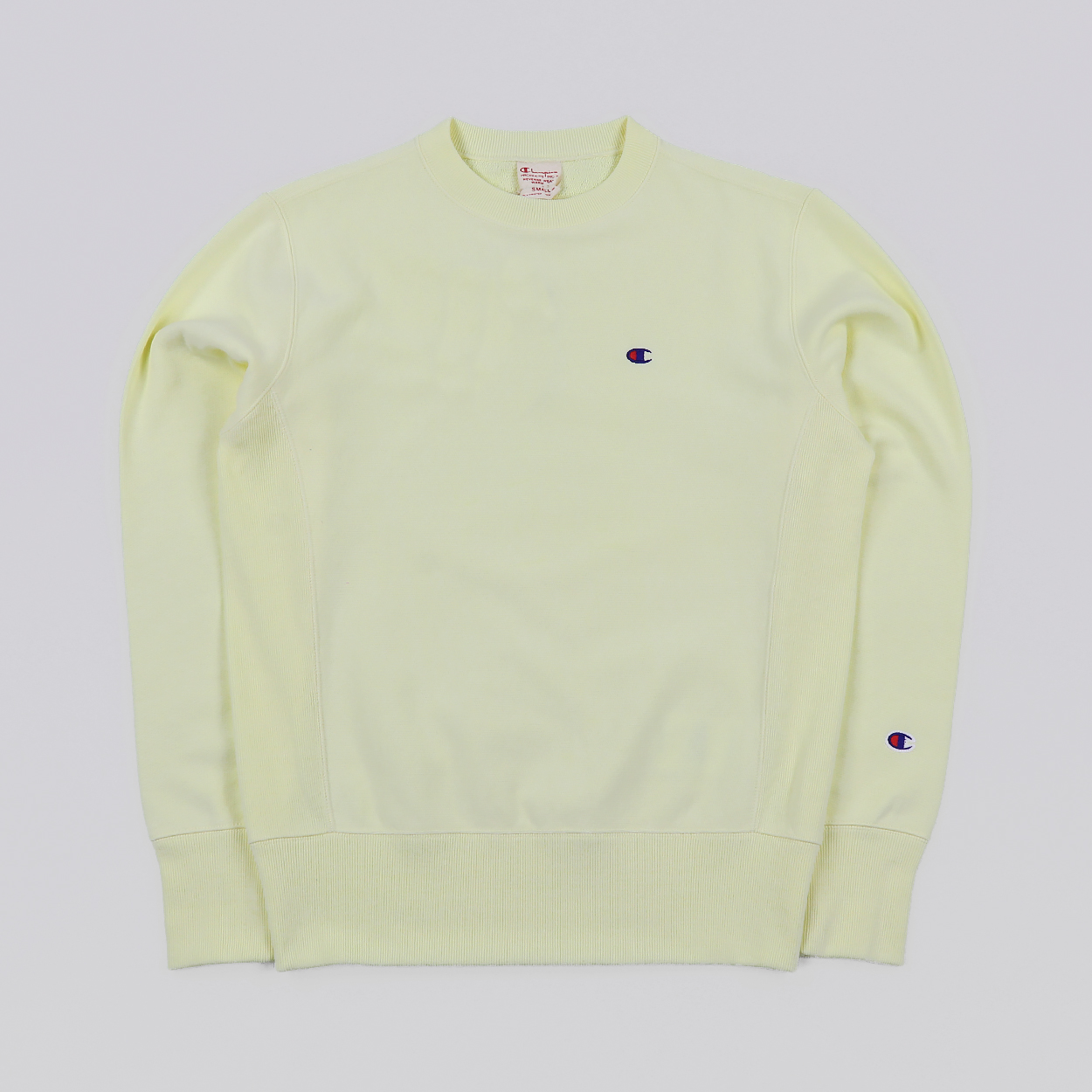 6ddcb9a01a30 Champion Reverse Weave Crew Neck Cotton Sweater Faded Yellow £56.00