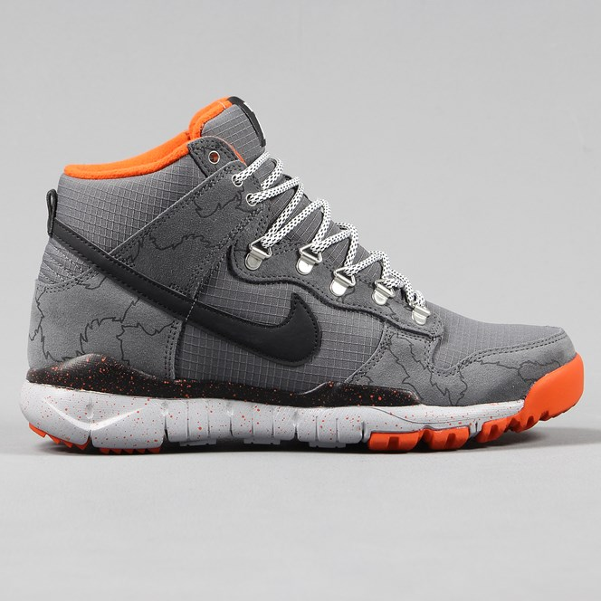 Nike SB x Poler Dunk High R/R Shoes Dark Grey Black Wolf Grey Orange