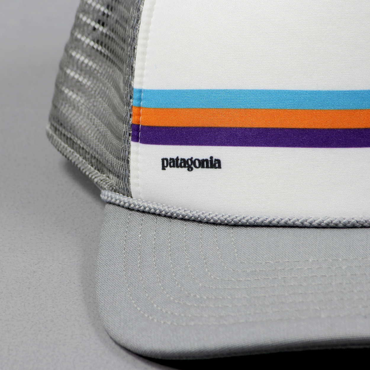 8937fbf9 A new style for 2016 Patagonia's Fitz Roy Bar Interstate Trucker has some  ace coloured stripes across it and a Feather Grey and White contrast that  we dig!