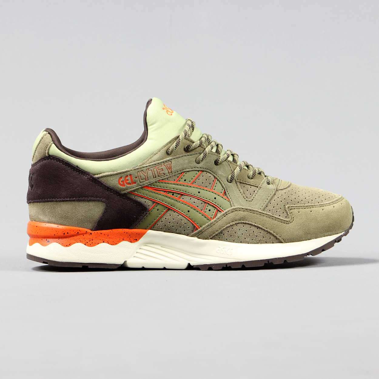 Asics Mens Gel Lyte V Outdoor Running Trainers Green Brown
