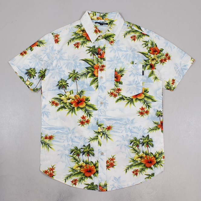 The Quiet Life Hawaiian Shirt White Light Blue