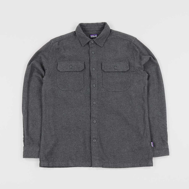 Patagonia Long Sleeved Fjord Flannel Shirt Forge Grey