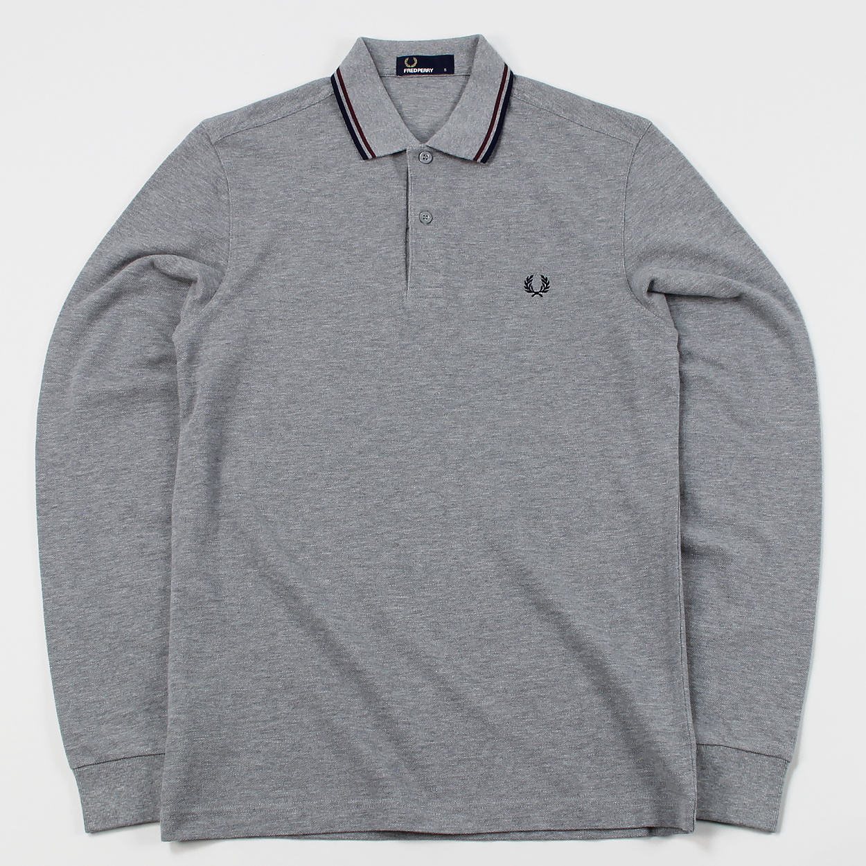b0f6c71c Fred Perry M3636 Long Sleeved Twin Tipped Polo Shirt Steel Marl £48.75