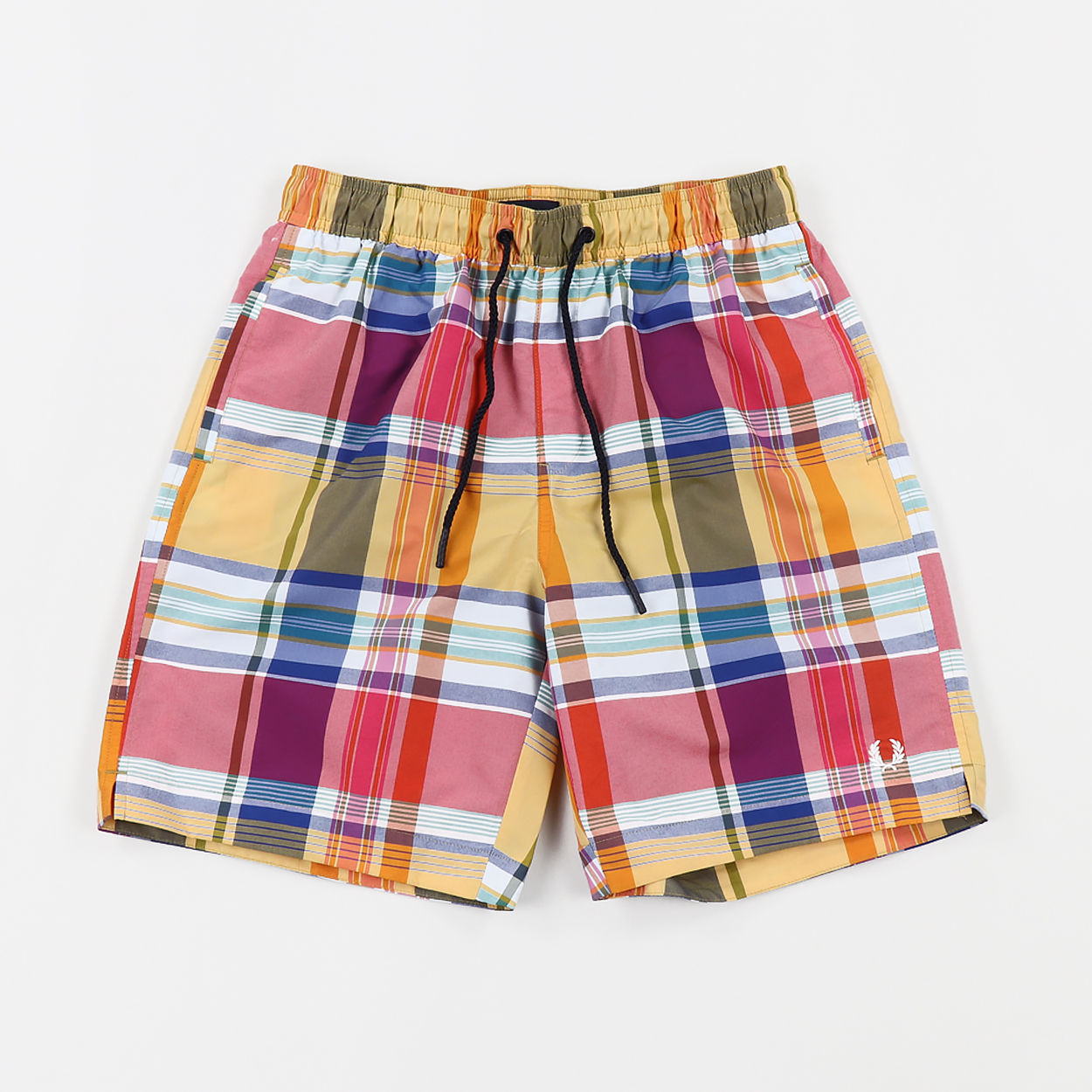 419a0896b4 Fred Perry Mens Madras Check Summer Swimming Shorts Red Yellow £65.00