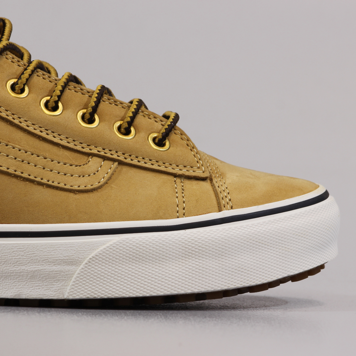 afdad1c226 Old skool is back from the Vans California Collection with these arrowwood leather  mid-tops.