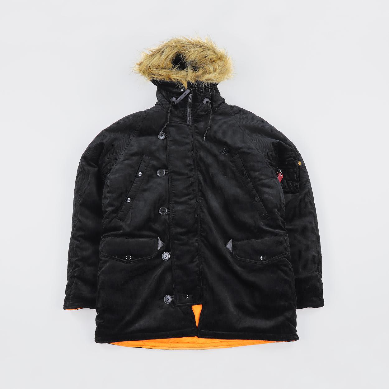 3291f44d0d7 The Cords and Co. x Alpha Industries N-3B Corduroy Parka Black £193.00
