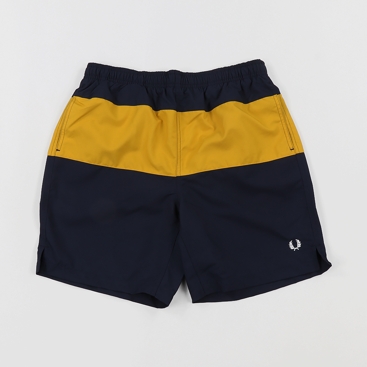 689ac0bd16f94 Fred Perry Mens Sport Panelled Swimming Shorts Navy Blue Yellow £60.00