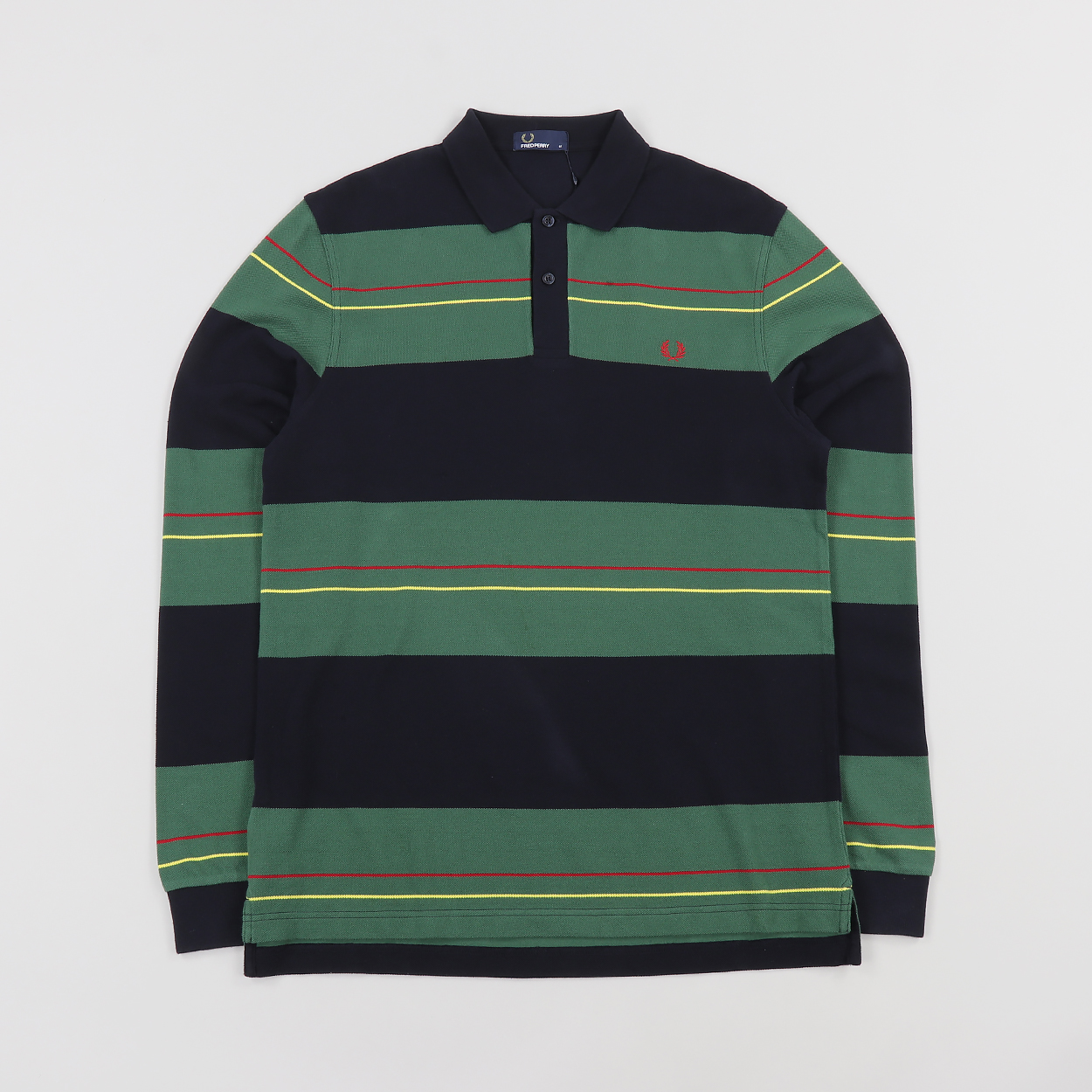 Fred Perry Mens Panelled Stripe Long Sleeve Pique Polo Shirt Navy 8000