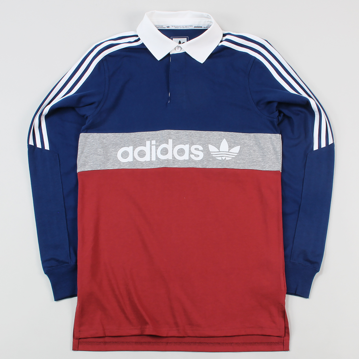 ebd2d3ff9145 Adidas Mens Skateboarding Rugby Nautical Long Sleeve Polo Shirt £38.47