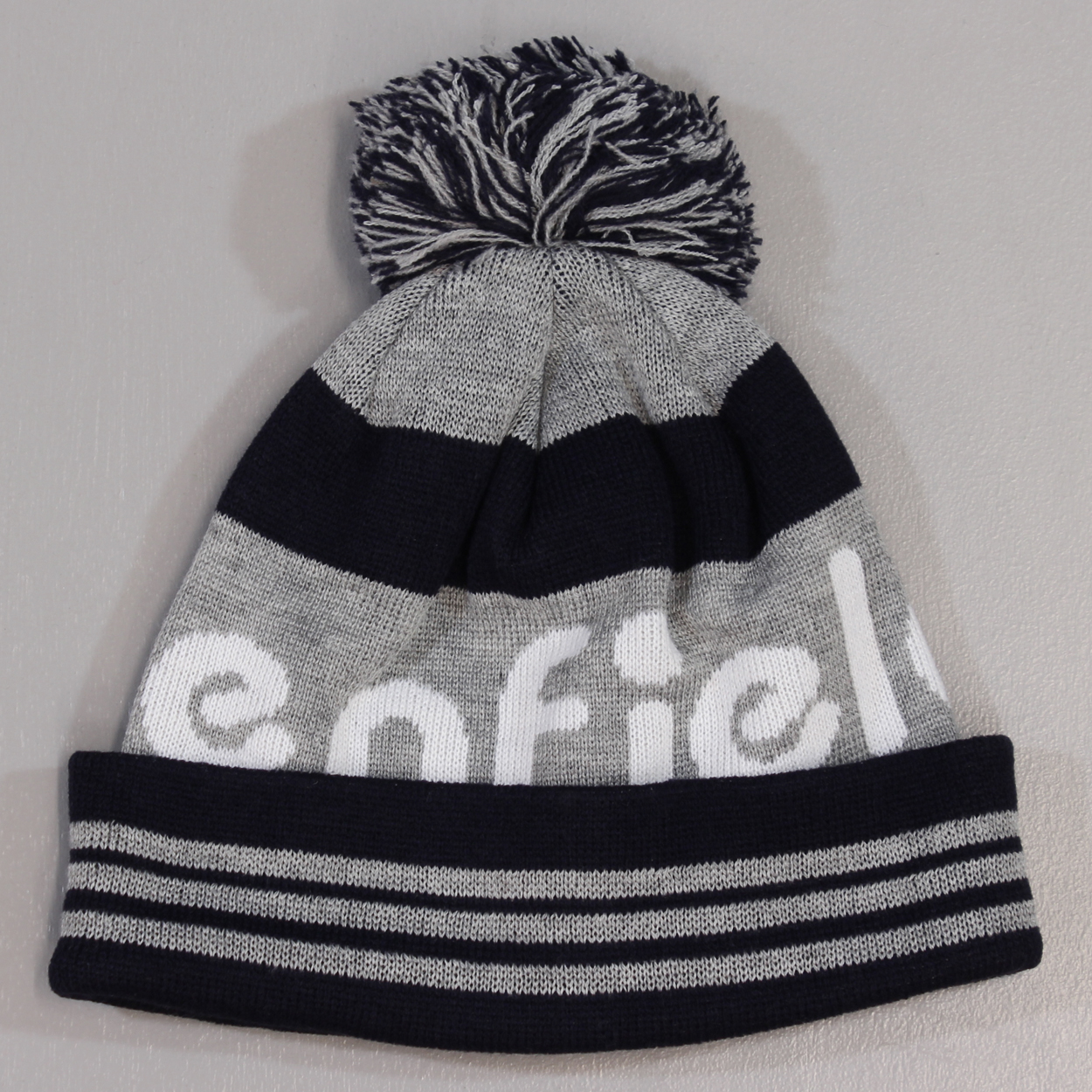 08a1d81db Penfield Sanford Logo Bobble Mens Beanie Grey Navy Knitted Hat £14.00