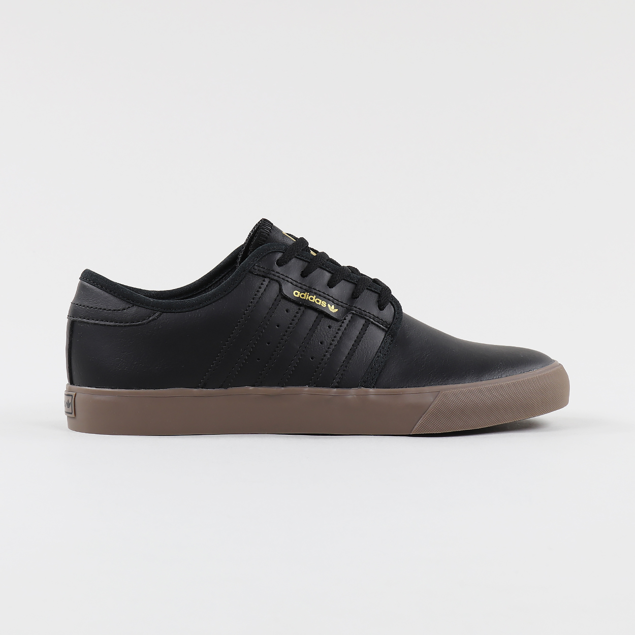 Adidas Skateboarding Seeley Pro Leather Shoes Black Gold Gum £40.37 1294d4997