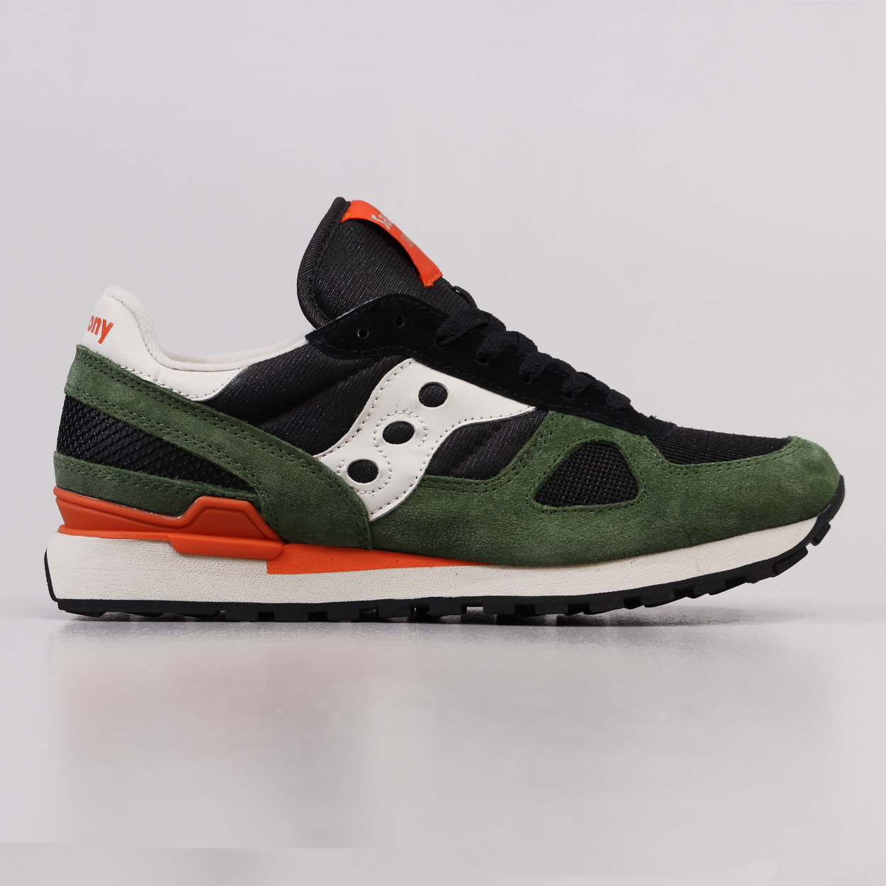 3e6ee8ea24421 Saucony Mens Shadow Original Running Shoes Black Green Trainers £52.50