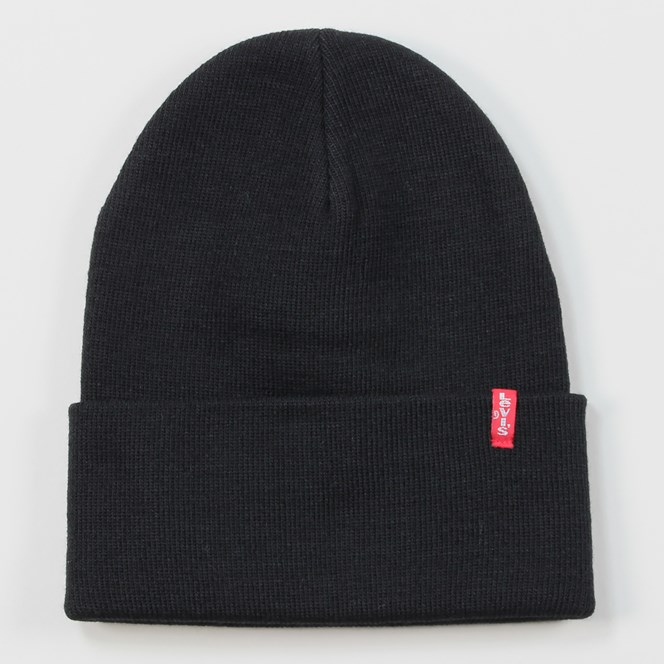 Levis Slouchy Red Tab Beanie Black