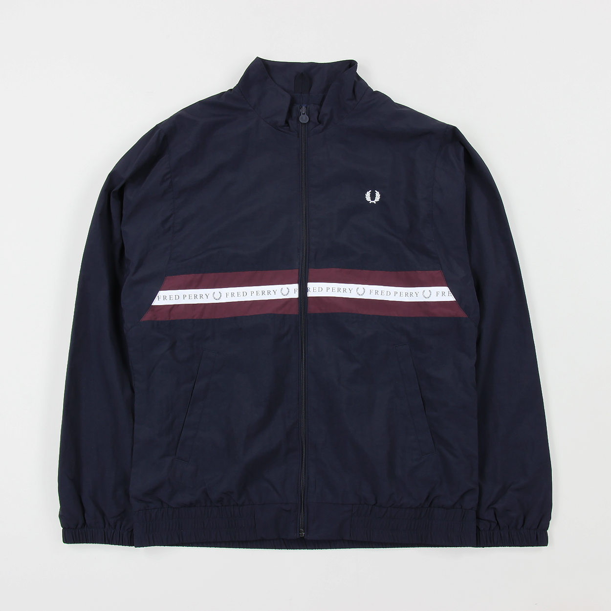 73c4ea9a Fred Perry Mens Sports Tape Logo Shell Track Jacket Navy Blue £88.00