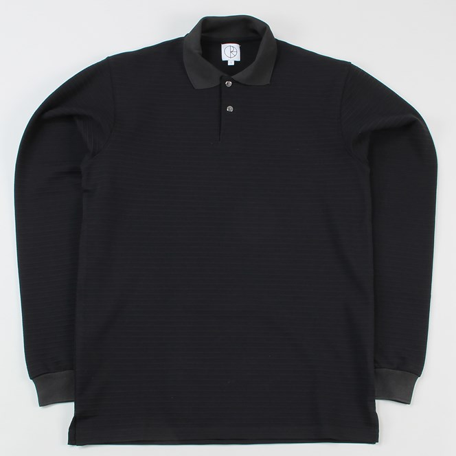 Polar Skate Co. Striped Pique Long Sleeved Polo Shirt Black