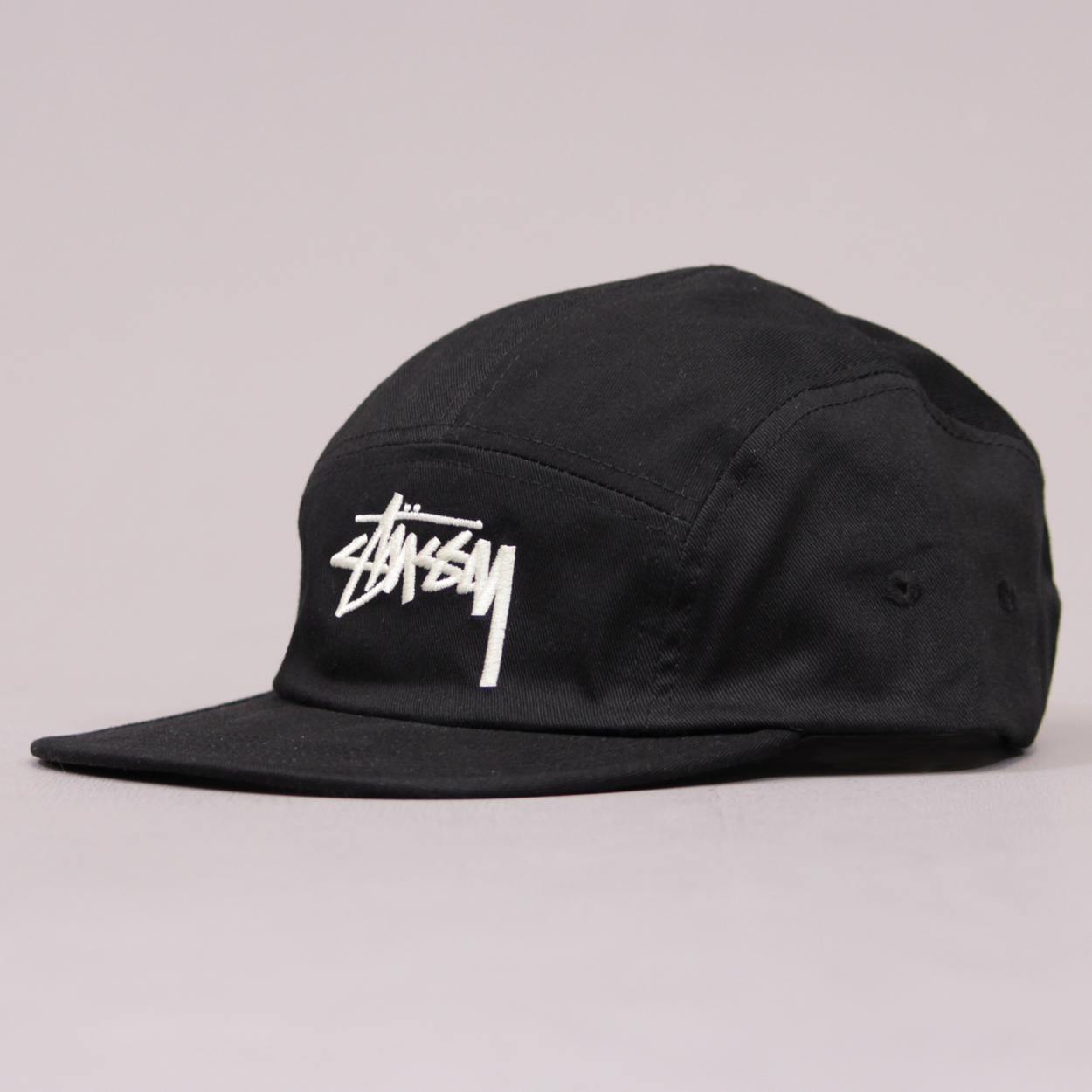 Stussy Men s Five 5 Panel Cap Hat Flatpeak Snapback Black £31.50 946013aa112