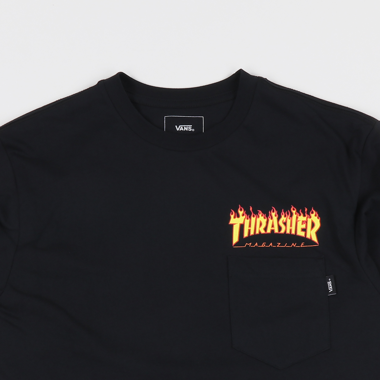 cba639aa067 The two skate behemoths which are Vans and Thrasher have colaborated to bring  us all a tasty selection of threads. This pocket tee features original  colab ...