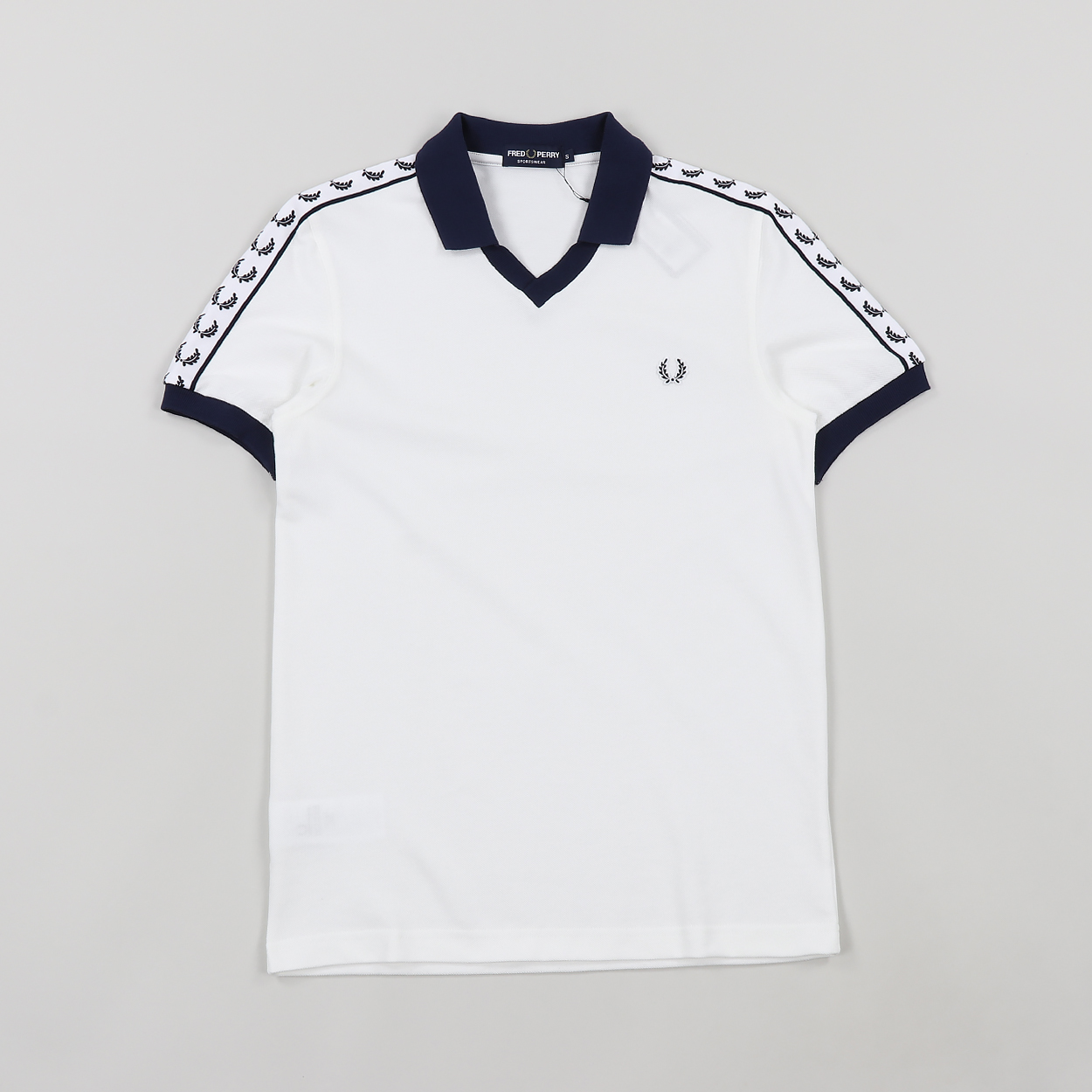 fb3243d6 Fred Perry Taped Logo Cotton Pique Polo Shirt Snow White £42.00