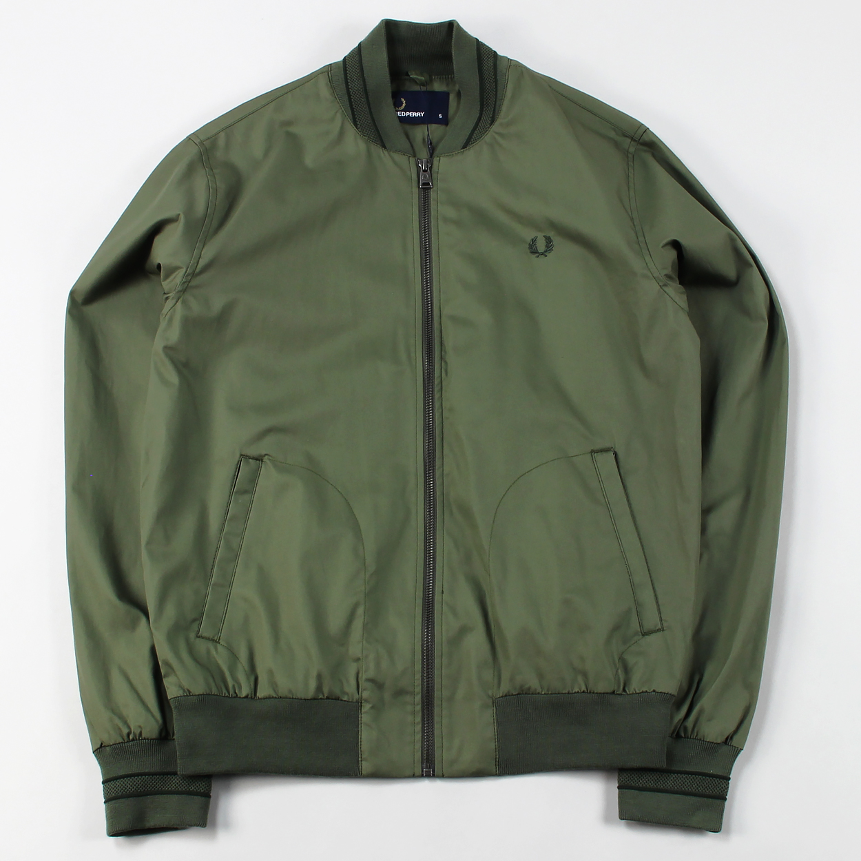 2e5d3101d Fred Perry Mens Tramline Bomber Zip Jacket Olive Green Drab £94.50