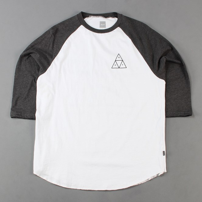 Huf Triple Triangle Raglan T Shirt Charcoal