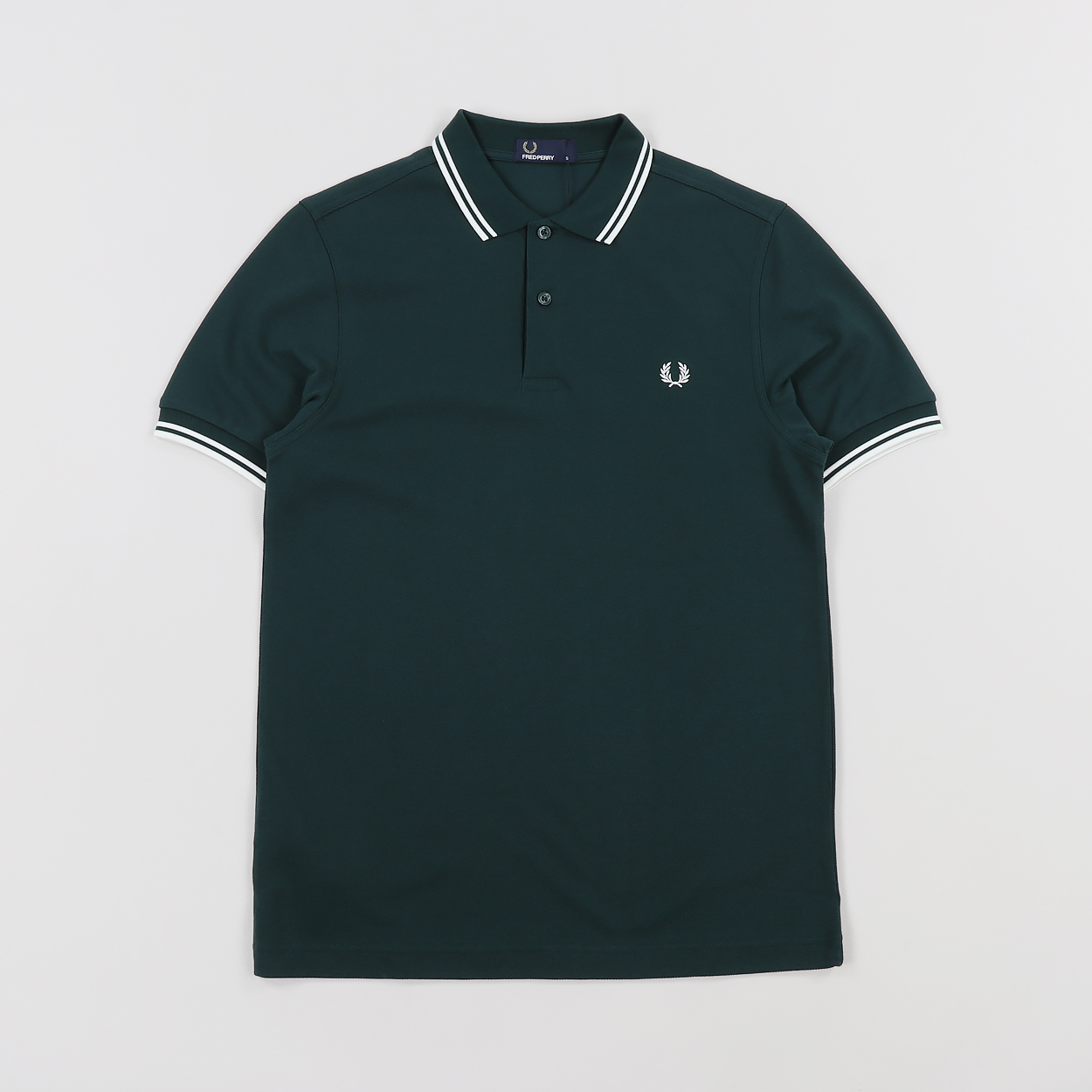 61bb5671 Fred Perry Mens M3600 Twin Tipped Polo Shirt Dark Pine Green £48.00