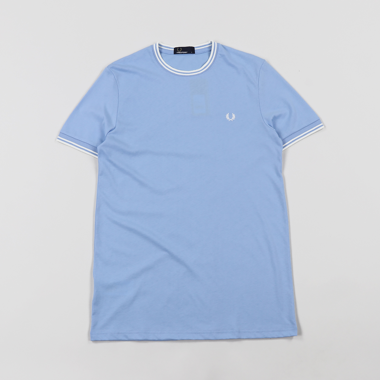 Fred Perry Mens Sports Twin Tipped Cotton T Shirt Light Blue
