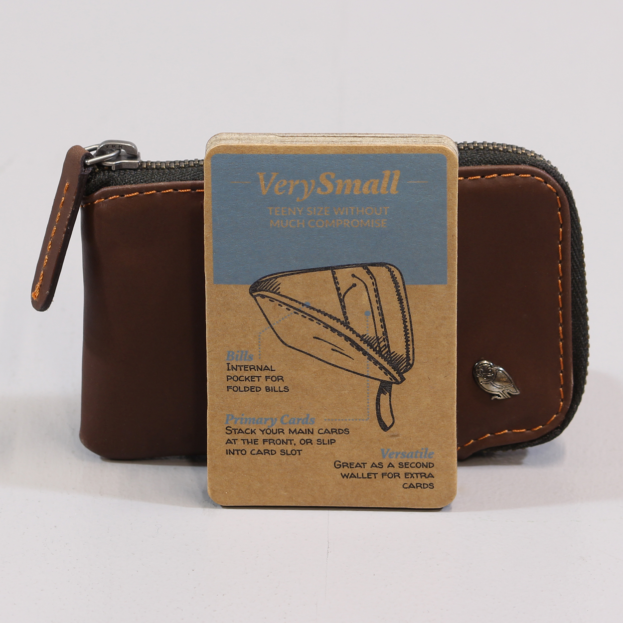 fd5b1ab335 Bellroy Mens Very Small Wallet Cocoa Brown Zip Card Holder Case £27.00