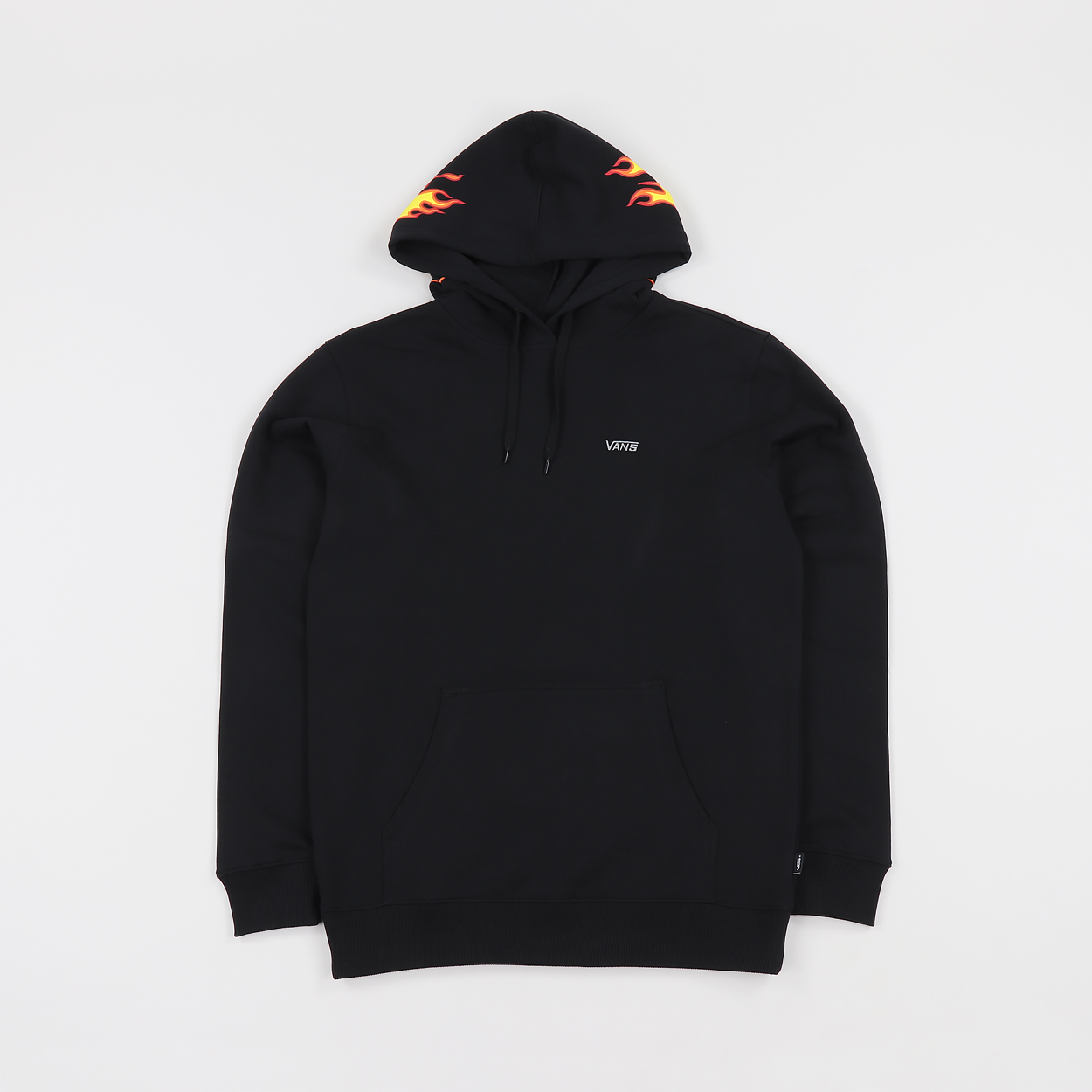 e0ea5b82ecaa Skate champs Vans and Thrasher have colaborated to bring us all a sweet  selection of threads. This pullover hoodie features a Flame logo over the  hood and ...